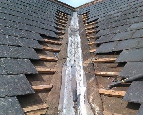 Valley roof gutter repair job on Chelmsford.