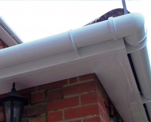 Renewed UPVS fascias, soffits and guttering in white in Chelmsford.